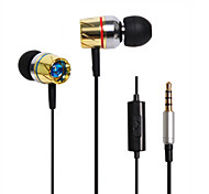 HUAST HST-35 Stereo HeadPhone In Ear Earphone Metal Handsfree Headset with Mic 3.5mm Earbuds For All Phone MP3 Player