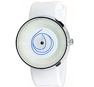 Unisex Fashion Watch Quartz Rubber Band Black White