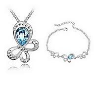Jewelry 1 Necklace 1 Bracelet Crystal Party Alloy 1set Women Red Blue Purple Dark Navy Wedding Gifts