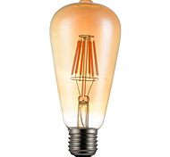 6W E26/E27 Lampadine LED a incandescenza ST64 6 SMD 5730 600 lm Bianco caldo Decorativo V 1 pezzo