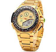 Men's AMST Multifunctional Dual Movt LED Sports Watch Golden Big Dial.