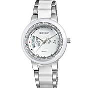 Women's Wrist watch Quartz Ceramic Band Elegant Silver Gold