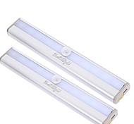 youoklight 2pcs sensor de movimiento de 10 LED lámpara de noche la luz blanco cálido / frío blanco - plata