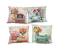 Set of 4 Retro camera pattern Linen Pillowcase Sofa Home Decor Cushion Cover