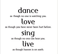 ZOOYOO® Dance Love Sing Live Removable Wall Stickers Window Sticker Art Decals Mural DIY Wallpaper for Room Decal