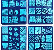 8pcs diy ongles film bleu impression de vernis à ongles un carré de la plaque d'acier costume 4