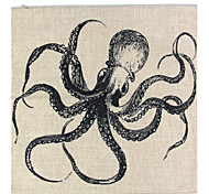 RayLineDo® Linen Cotton Square Throw Pillow Cover Octopus Decorative Pillow Case CTJZ21-PC-YSD