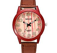Unisex Modeuhr Einzigartige kreative Uhr Uhr Holz Quartz PU Band Orange Braun Khaki Orange Purpur Rot