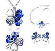 Jewelry Set Crystal Alloy Green Blue Light Blue Party 1set 1 Necklace 1 Pair of Earrings 1 Bracelet Wedding Gifts