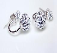 Stud Earrings Crystal Sterling Silver Rhinestone Silver Jewelry Daily 1 pair