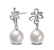 2017 Fashion 925 Sterling Silver White Pearl Push-Back Stud Earrings Wedding Jewelry For Women