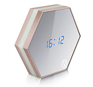 USB Charging Multifunction Mirror Glass Alarm Clock Night Lights Snooze Light-emitting Thermometer Digital Wall Clock Brightness