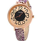 Mulheres Relógio de Moda Quartzo Digital Colorido Couro Banda Leopardo Casual Azul Verde Roxa marca