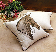 1 pcs Cotton/Linen Pillow Case  with Hand Embroidery Horse Animal Traditional/Classic