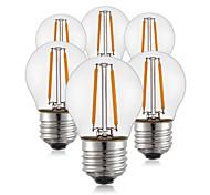 2W E26/E27 Bombillas de Filamento LED G45 2 COB 200 lm Blanco Cálido Decorativa AC 100-240 V 6 piezas