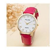 Men's Sport Watch Quartz Leather Band Vintage Red Brown Pink