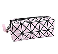 1Pca Fashion Geometric Zipper Cosmetic Bag Women Laser Flash Diamond Leather Makeup Bag Ladies Cosmetics