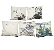 Set of 5 Chinese ink painting pattern  Linen Pillowcase Sofa Home Decor Cushion Cover (18*18inch)