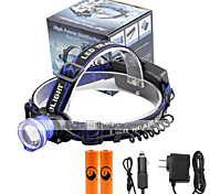 U'King® ZQ-X837BL#6-US CREE XML T6 Zoomable 180 Rotate 3Modes Headlamp Bike Light Kits with Rear Safety LED