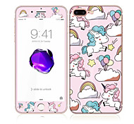 For Apple iPhone 7 4.7 Tempered Glass with Soft Edge Full Screen Coverage Front Screen Protector and Back Protector Unicorn Pattern