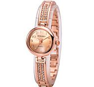 Bracelet Watch Imitation Diamond Quartz Alloy Band Charm Gold