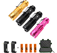 UKing ZQ-X965B#-US 1500LM Cree XPE SK68 Flashlight Battery and Charger Multi Color Kits