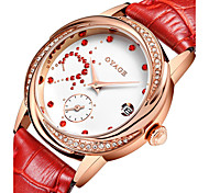 Women's Fashion Watch Quartz Genuine Leather Band Red Pink Rose Brand