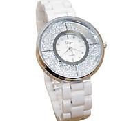 Women's Fashion Watch Simulated Diamond Watch Imitation Diamond Quartz Ceramic Band White