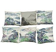 6 PC Lino Funda de almohada Cobertor de Cojín,Con Texturas Geométrica Sólido Reforzar Estilo playero Tradicional/Clásico