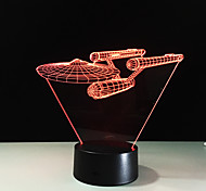 3D Visual Acrylic Lamp Led Night Light For Kids Star Trek Warship Touch Usb Table Lampara For Kids 7 Colors Changing