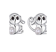 Stud Earrings Crystal Pearl Pearl Alloy Natural Fashion Animal Shape Silver Jewelry Daily 1 pair