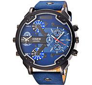 Hombre Niño Reloj Deportivo Reloj Militar Reloj de Vestir Reloj de Moda Reloj de Pulsera Calendario Dos Husos Horarios Esfera Grande Punk