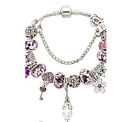 Charm Bracelet Crystal Alloy Natural Gift Boxes & Bags Fashion Flower Blue Pink Jewelry 1pc