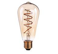 4W E26/E27 B22 Lampadine LED a incandescenza ST64 1 COB 400 lm Bianco caldo Intensità regolabile AC 110-130 AC 220-240 V 1 pezzo