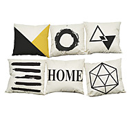 Set of 6 Scandinavian-style geometric pattern   Linen Pillow Case Bedroom Euro Pillow Covers 18x18 inches Cushion cover