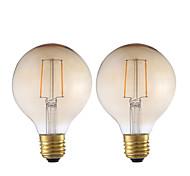 2W E26/E27 Bombillas de Filamento LED G80 2 COB 180 lm Ámbar Decorativa V 2 piezas