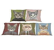 Set of 5 Meow star people pattern Linen Pillowcase Sofa Home Decor Cushion Cover