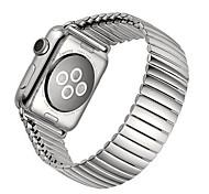 correa de acero inoxidable correa de pulsera de goma elástica con la plata adaptador de enlace para la serie reloj de manzana 2 38mm 42mm
