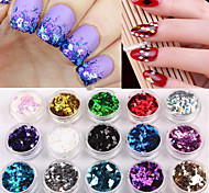 12box/set Colorful Sequins Diamonds Nail Jewelry 3D Design Nail Tips Decoration Manicure Tools