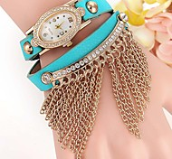 Fashion Watch Bracelet Watch Simulated Diamond Watch Quartz Leather Band Black White Blue Red Brown