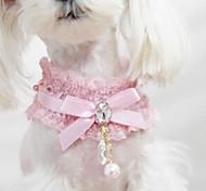 Lace Diamond Pendant Pearl Necklace Jewelry Necklace Pet Dog