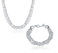 Silver Plated Jewelry Set Fashion Jewelry Nickle free Antiallergic Fish Bone Two-Piece Jewelry Set