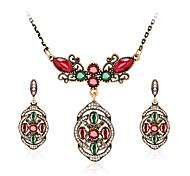 Jewelry Set Gemstone Resin Rhinestone Gold Plated Simulated Diamond Alloy Vintage Bohemian Jewelry Black Red Green Jewelry setParty