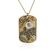 Vintage Pendant Necklace Gear Charm Steampunk Necklaces-Key Butterfly Dog Tag