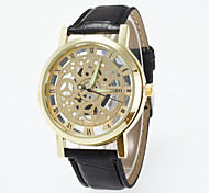 Men's Watchcase Of Circular Hollow Out False Eye Roman Numeral Scale On The Surface Of Plate Geneva Quartz Watch