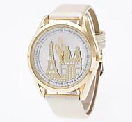 Women's Bright Golden Shell 3 d Tower Door Couple Disk Set Auger Geneva Quartz Watch