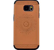 For Samsung Galaxy S8 Plus S7 Embossed Mandala Pattern PU leather and Black TPU Combo Soft Phone Case S8