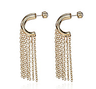 Retro Gold Tone C Hoop with Chain Tassel Fringe Earrings