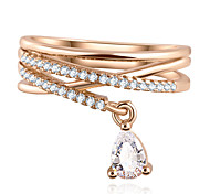 Wedding Party Water Drop Zircon Pendant Cross Multi-storey Ring Luxury Jewelry (gold and silver)