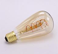 1шт dimmable st64 3w 300-350lm вел мягкую гибкую лампу накаливания урожайность 2300k нить водить 220-240v